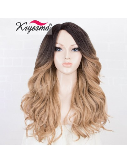 Ombre Blonde Synthetic Wig Wavy Honey Blonde