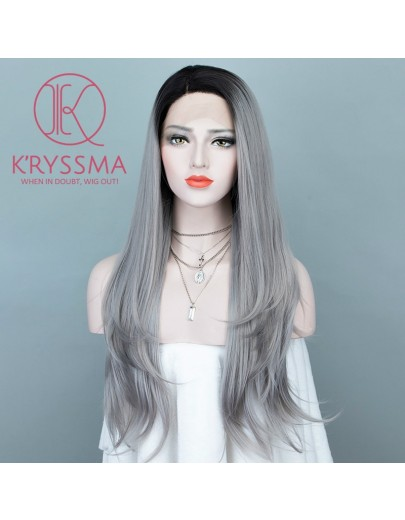 Ombre Silver Gray Long Natural Straight Lace Front Wig 22 Inches