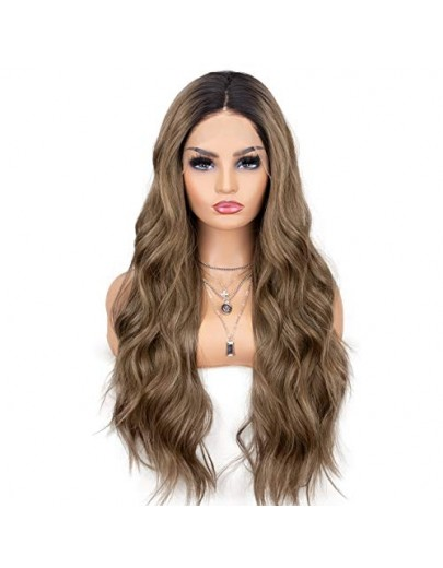 Brown Lace Front Wigs Ombre Dark Roots Natural Looking Glueless Long Wavy Synthetic Wig 2 Tone Heat Resistant 22 inches