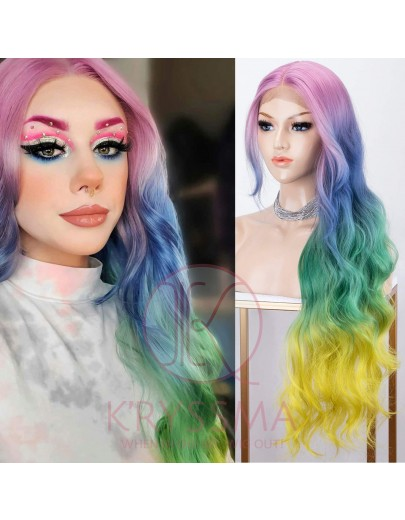Rainbow Wig Colorful Lace Front Wigs Deep Middle Part Rainbow Long Wavy Snthetic Wig for Halloween 30 Inches