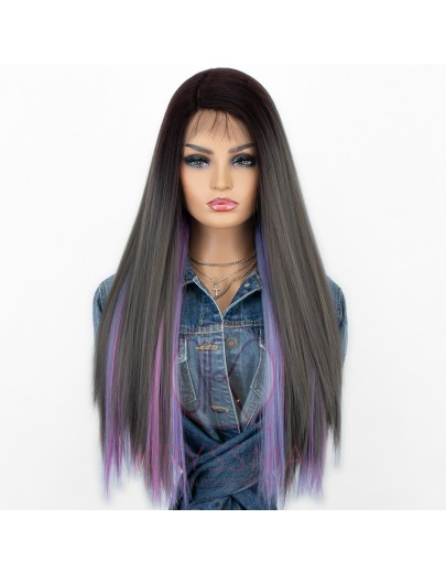 Special Style! Straight Ombre Dark Grey Wig Set. One Set includes One Lace Front and Two Hair Pieces with Buttons