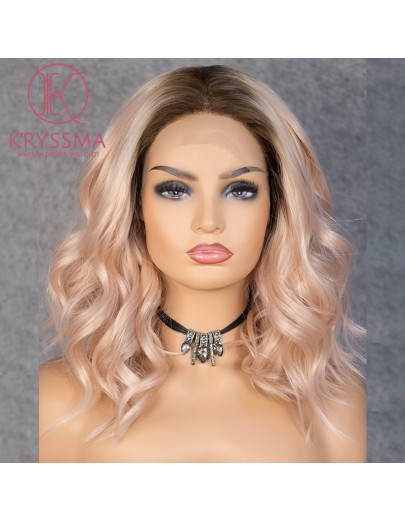 Olivia Recommend: Light Orange Lace Front Wig Bob Short Wavy with Middle Parting Dark Roots